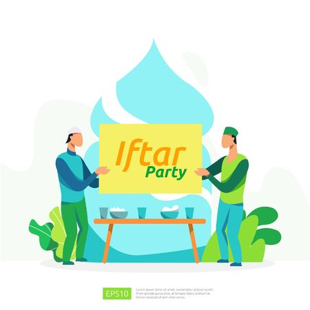 Moslem family dinner on Ramadan Kareem or celebrating Eid with people character. Iftar Eating After Fasting feast party concept. web landing page template, banner, presentation, social or print media Vectores
