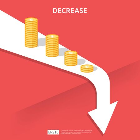 business finance crisis concept. money fall down symbol. arrow decrease economy stretching rising drop. lost crisis bankrupt declining. cost reduction. loss of income. vector illustration.