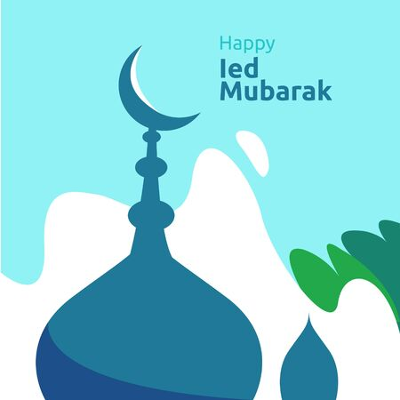 Happy eid mubarak or ramadan greeting with people character. islamic design illustration concept for template for web landing page, social, poster, ad, promotion, print media, banner or presentation