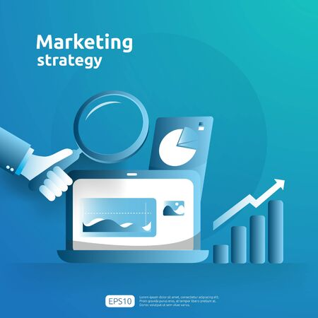 business growth and return on investment ROI. digital marketing strategy concept with table, graphic object on computer screen. chart increase profit. banner flat style vector illustration