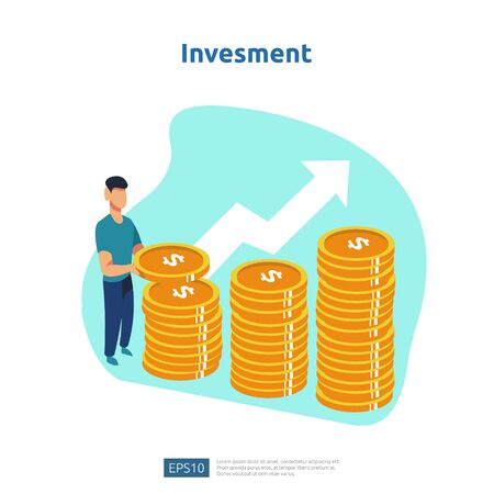Finance performance of return on investment ROI. income salary rate increase concept illustration with people character and arrow. business profit growth, sale grow margin revenue with dollar symbol