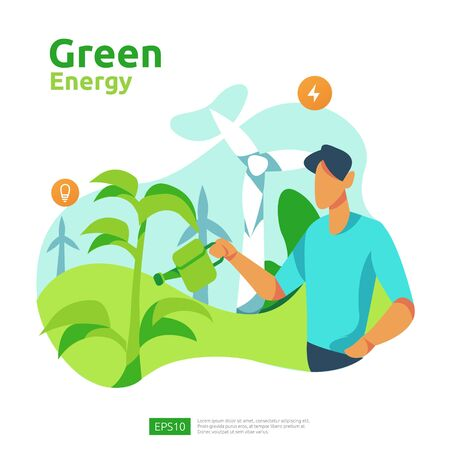green clean energy sources with renewable electric sun solar panel and wind turbines. environmental concept for web landing page template, banner, presentation, social, and print media