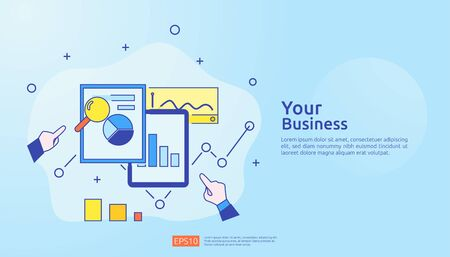 digital graph data for SEO analytics and strategic. statistics information, financial audit report document, marketing research for business management concept. vector illustration for infographic