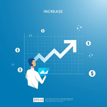 Finance performance of return on investment ROI. income salary rate increase concept illustration with people character and up arrow. business profit growth sale grow margin revenue with dollar symbol