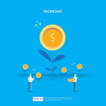 Plant money coin tree growth illustration for Investment Concept. income salary rate increase concept with people character and dollar symbol. Business profit performance of return on investment ROI