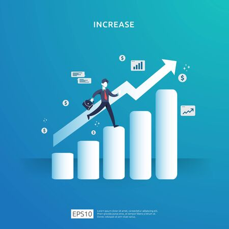 growth up arrow illustration concept for income salary rate increase with people character. business profit sale grow margin revenue with dollar symbol. Finance performance of return on investment ROI Çizim