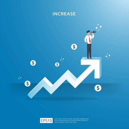 growth up arrow illustration concept for income salary rate increase with people character. business profit sale grow margin revenue with dollar symbol. Finance performance of return on investment ROI Vectores