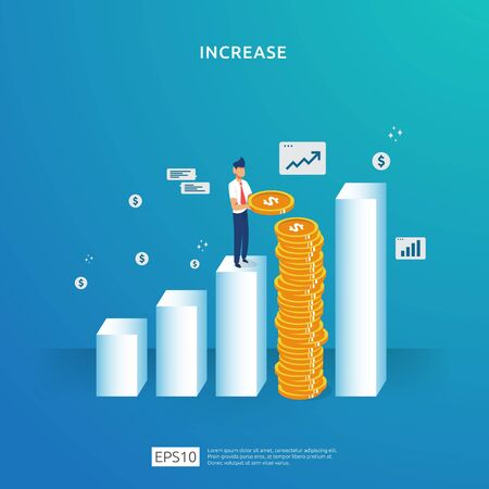 growth up arrow illustration concept. business profit grow or income salary rate increase with people character. sale margin revenue with dollar symbol. Finance performance of return on investment ROI
