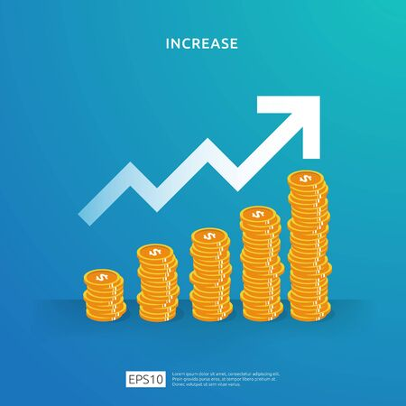 dollar coins pile illustration concept for money growth, success, business profit grow or income salary rate increase. Finance performance of return on investment ROI Çizim