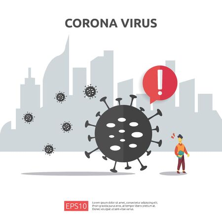 Pandemic Coronavirus outbreak. social distancing preventive for covid-19 Alert caution attack danger and public health risk disease. Corona Virus Sign Icon illustration for medical health risk concept Çizim