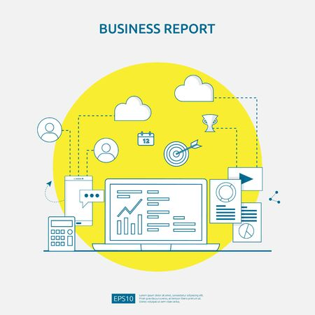 chart document data report concept for business statistics, investment analysis, planning research and finance audit accounting with paper sheet, hands, magnifier, paperwork, charts, graphs element