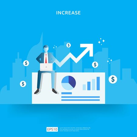 salary rate increase with growth up arrow and people character. business profit grow or income margin management revenue. Finance statistic performance of return on investment ROI illustration concept Vectores
