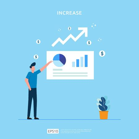 salary rate increase with growth up arrow and people character. business profit grow or income margin management revenue. Finance statistic performance of return on investment ROI illustration concept Çizim