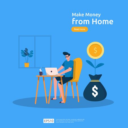 freelancer sitting at home. employer office workplace desk working with laptop. make money from home concept. Flat cartoon vector illustration with people character