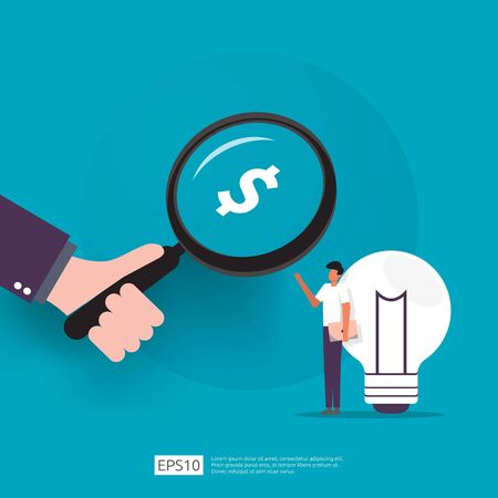 angel investor looking for opportunity business idea research concept with lamp light bulb and businessman character element. smart investment on technology startup analytic flat Vector illustration