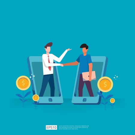 Business partnership deals and agreement to achieve success in teamwork and profit concept design. businessman investment on technology startup doing handshakes. Flat vector illustration Иллюстрация