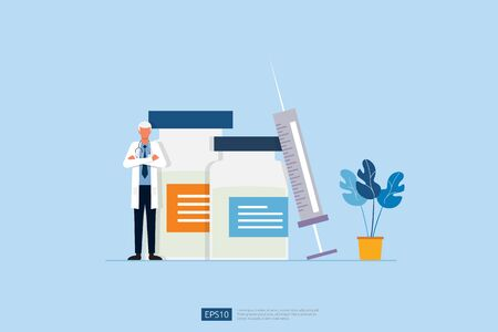 Time to vaccinate concept with doctor, medical injection and vial of medicine. vaccine medicine bottle treatment for coronavirus infection. COVID-19 Virus Vaccine illustration Çizim