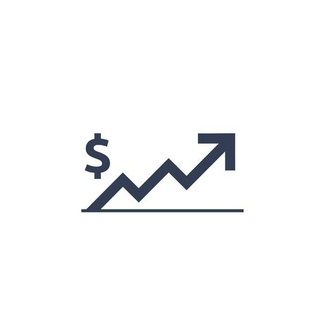 dollar rate increase icon. Money symbol with stretching arrow up. rising prices. Business cost sale icon. cash salary increase. investment growth. vector illustration