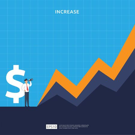 Finance performance concept. business profit increase with growth up arrow and people character. income salary rate grow margin revenue with dollar symbol. return on investment ROI vector illustration Vektorgrafik