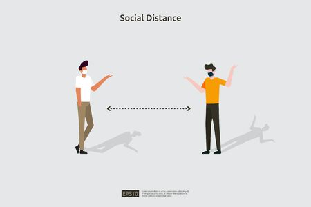 Social distancing prevention illustration concept. protect from COVID-19 coronavirus outbreak spreading. keep 1-2 meter distance space between people. flat style vector Çizim