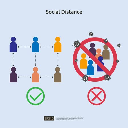 Social distancing sign prevention illustration concept. protect from COVID-19 coronavirus outbreak spreading. keep 1-2 meter distance space between people. flat style vector