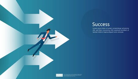 business success illustration concept with arrow up graphic and businessman character for financial, vision vector background. Return on investment ROI chart increase profit. Stok Fotoğraf - 148578878