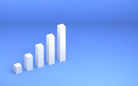 3D rendered business growup chart bar concept. Finance growth vision stretching rising up. Return on investment ROI. increase profit margin revenue success Stok Fotoğraf