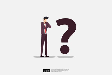 businessman and question mark vector illustration. Business dilemma, decision, challenge and solution vision concept. Çizim