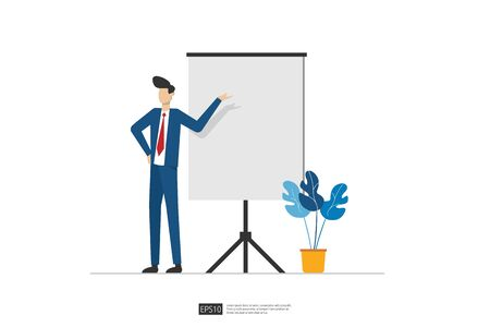 Businessman presenting marketing idea plan concept. Business character giving presentation report, lesson session, meeting, council on a whiteboard. Flat style vector illustration