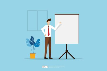 Businessman presenting marketing idea plan concept. Business character giving presentation report, lesson session, meeting, council on a whiteboard. Flat style vector illustration Stok Fotoğraf - 148767005