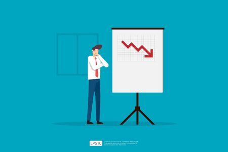sad businessman because decrease sales presentation report on whiteboard. business finance crisis concept. lost crisis bankrupt declining. cost reduction. loss of income. vector illustration. Çizim