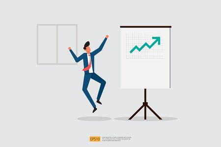 happy businessman jumps because increase sales presentation report on whiteboard. Finance performance concept. business profit with growth up arrow and people character. salary rate grow. Çizim