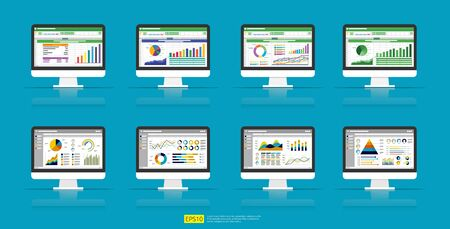 Web statistics analytic charts on Computer screen icon set. Flat vector infographic and spreadsheet trend graphs report concept for planning, accounting, analysis, audit, management, marketing