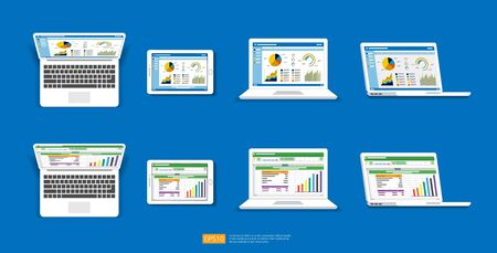 Web statistics analytic charts on laptop screen icon set. Flat vector infographic and spreadsheet trend graphs report concept for planning, accounting, analysis, audit, management, marketing