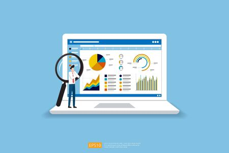 businessman analysis web statistics charts on Computer screen. Flat vector infographic analytic trend graphs information concept for planning and accounting, audit, data report, marketing illustration Çizim
