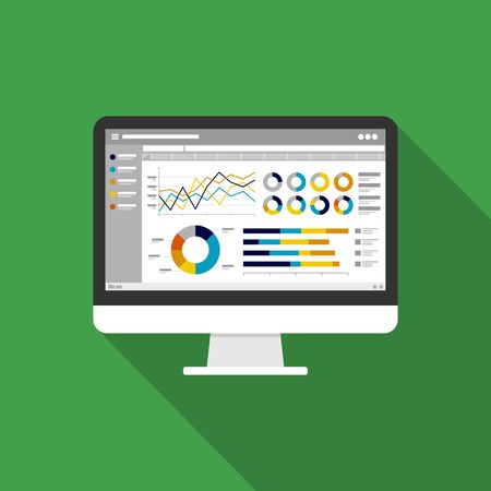 Web statistics analytic charts on Computer screen icon. Flat vector infographic trend graphs information report concept for planning and accounting, analysis, audit, management, marketing illustration