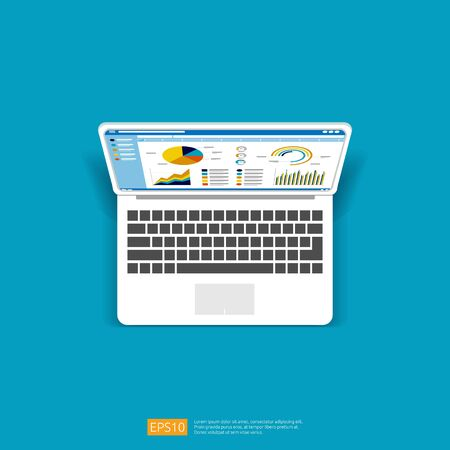 Web statistics analytic charts on laptop screen icon. Flat vector infographic trend graphs information report concept for planning and accounting, analysis, audit, management, marketing illustration Stok Fotoğraf - 148963563