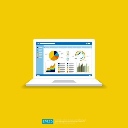 Web statistics analytic charts on laptop screen icon. Flat vector infographic trend graphs information report concept for planning and accounting, analysis, audit, management, marketing illustration