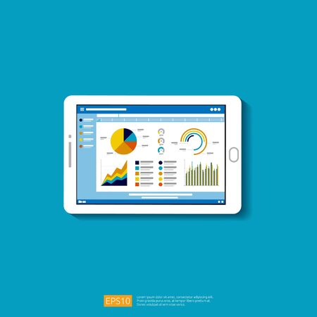 Web statistics analytic charts on mobile device screen. Flat vector infographic trend graphs information report concept for planning and accounting, analysis, audit, management, marketing illustration