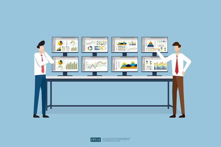 business people and stock market database, information graph in data center room. Monitoring and analysis report statistics, investment, website SEO screen PC monitor on table Çizim