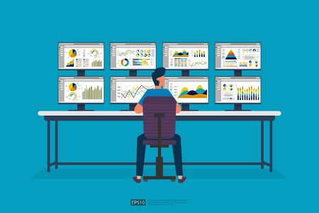businessman sitting and monitoring stock market on screen PC. database information graph in data center room. analysis report statistics, investment, website SEO monitor on table