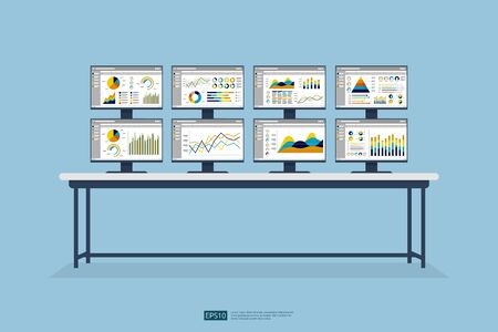stock market database, information graph in data center room. Monitoring and analysis report statistics, investment, website SEO screen PC monitor on table Çizim