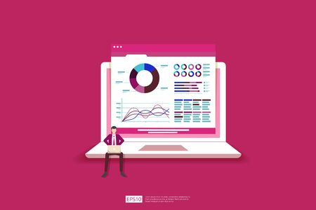 Monitoring and analysis report statistics, investment, website SEO screen PC monitor with tiny people concept. business people and stock market database, information graph illustration