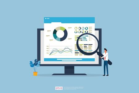 Monitoring and analysis report statistics, investment, website SEO screen PC monitor with tiny people concept. business people and stock market database, information graph illustration Stok Fotoğraf - 149191528