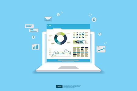 Web statistics analytic charts on laptop device screen. Flat vector infographic trend graphs information report concept for planning and accounting, analysis, audit, management, marketing illustration