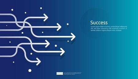 line arrow direction for vision, business growth, teamwork leader and success concept. blue background for presentation or web banner template. finance digital goal vector illustration Ilustracja