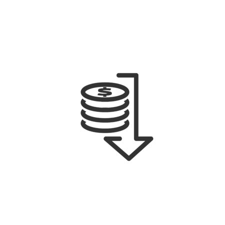 lower cost icon. dollar money decrease symbol with arrow stretching rising drop fall down. Business cost reduction icon. vector illustration. 免版税图像 - 149305781