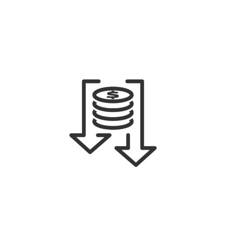 lower cost icon. dollar money decrease symbol with arrow stretching rising drop fall down. Business cost reduction icon. vector illustration.