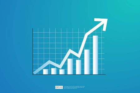 Increase profit sales diagram. business chart growth in flat style design. increasing graph investment revenue with line arrow vector illustration concept to success