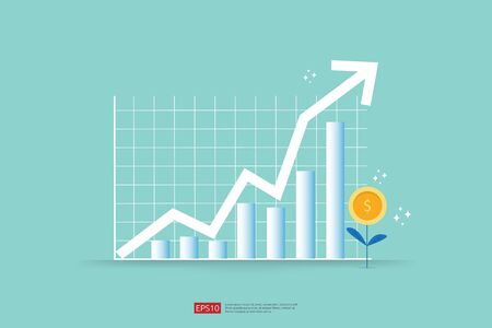 Increase profit sales diagram. business chart growth in flat style design. increasing graph investment revenue with line arrow vector illustration concept to success 免版税图像 - 149366295